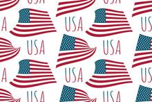 Seamless Pattern USA Waving Fl...