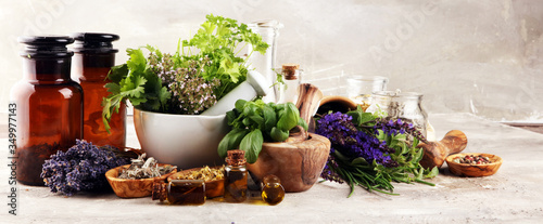 Fototapeta .Fresh herbs in mortar bowl from the garden and the different oils for massage and aromatherapy. obraz