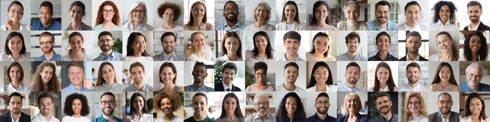 Fototapeta Multi ethnic people of different age looking at camera collage mosaic horizontal banner. Many lot of multiracial business people group smiling faces headshot portraits. Wide panoramic header design.