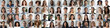 Leinwanddruck Bild - Multi ethnic people of different age looking at camera collage mosaic horizontal banner. Many lot of multiracial business people group smiling faces headshot portraits. Wide panoramic header design.