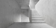 Abstract Empty, Modern Concrete Walls Stairway Room With Indirect Lit From Above - Industrial Interior Or Gallery Background Template