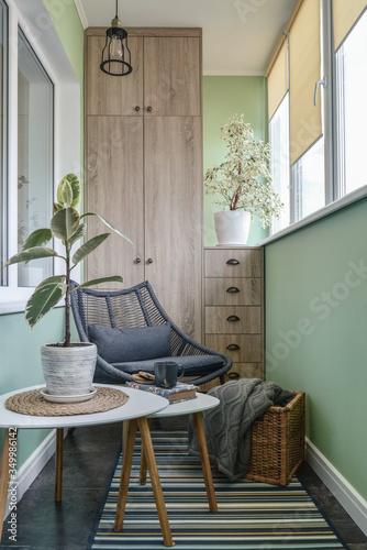 Interior of cozy balcony