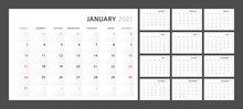 Wall Quarterly Calendar Template For 2021 In A Classic Minimalist Style. Week Starts On Monday. Set Of 12 Months. Corporate Planner Template.