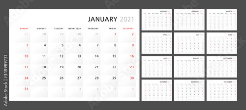 Photo Wall quarterly calendar template for 2021 in a classic minimalist style