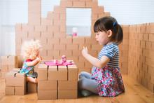 Toddler Girl Pretend Play Baby Care In A Carton House