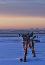 Wooden Posts On Frozen Sea Dur...
