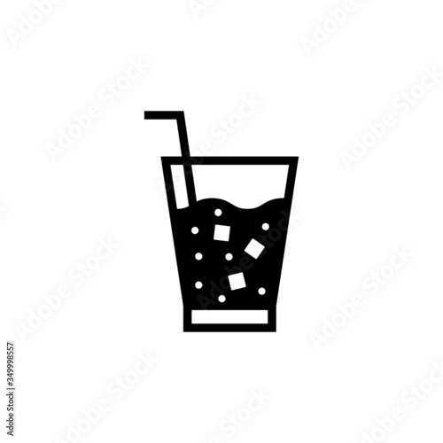 Photo Soft drink vector icon, soft drink icon symbol sign, drinks  in black flat shape