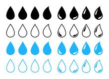 Big Set Of Water Drop Icons. B...