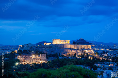 athens seen from Philopapou hill with views to Herodium , Acropolis and the Part Canvas Print