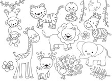 Outline Wild Safari Animals Ve...