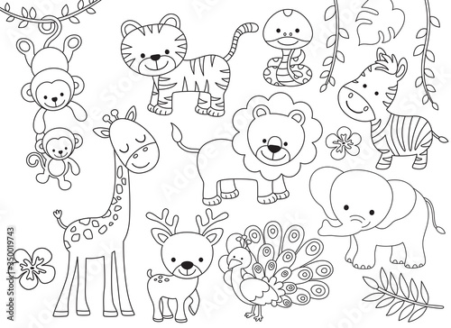 Photo Outline wild safari animals vector illustration for coloring