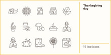 Thanksgiving Day Line Icon Set With Praying People And Calendar. Maple Syrup, Cornucopia, Pie, Jam, Mushroom. Thanksgiving Concept. Can Be Used For Topics Like Autumn, Holiday, Dinner, Harvest