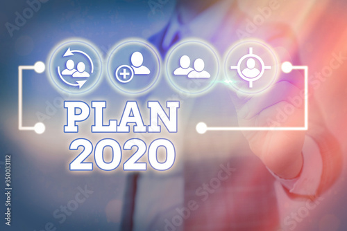 Writing note showing Plan 2020 Canvas Print