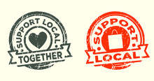 Support Local Stamp. Grunge Te...