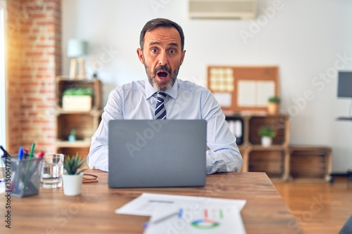 Fotografie, Tablou Middle age handsome businessman wearing tie sitting using laptop at the office afraid and shocked with surprise expression, fear and excited face