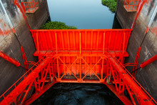 Close Up Of Dam Door Water Storage.Small Dam Open The Water Gate For Agricultural System.