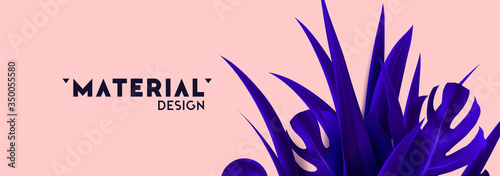 Tropical background with realistic palm leaves of violet color. vector illustration