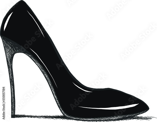 Vector hand drawing modern fashion high heels shoes sketch for banner advertising or promo, template for ad, online shopping or sales, clip art Fototapet