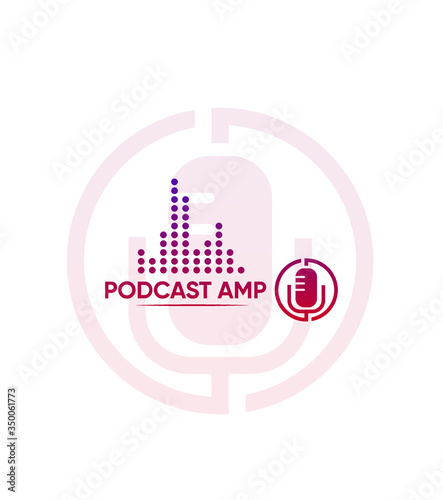 Photo Abstract modern creative podcast amp logo template, Vector logo for business and
