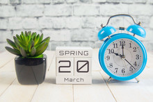March 20 On The Wooden Calendar.The Twentieth Day Of The Spring Month, A Calendar For The Workplace. Spring