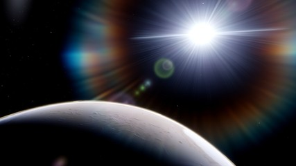 beautiful alien planet in far space, realistic exoplanet, planet similar to Earth, detailed planet surface, space background 3d render