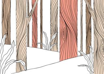 Panel Szklany Podświetlane Las Landscape line art ink drawing, forest in the mountain
