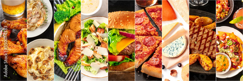 Obraz Food collage panorama, design template. Various tasty dishes, including a burger, a pizza, seafood pasta, beef steak. A restaurant menu cover or a groceries shop flyer - fototapety do salonu