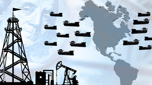 Oil tankers have accumulated off coast of United States America Wallpaper Mural