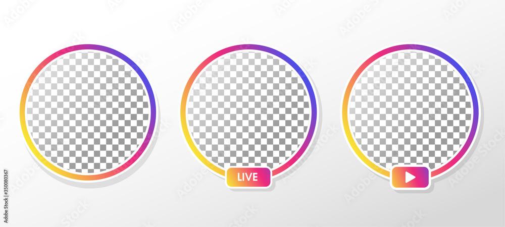 Fototapeta Gradient circle profile frame for live streaming on social media.