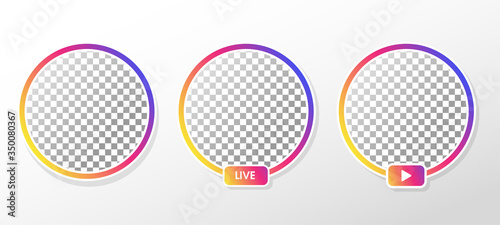 Fotografering Gradient circle profile frame for live streaming on social media.
