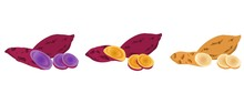 A Set Of Potatoes, Japanese Sweet Potato, Purple Potato, Cassava