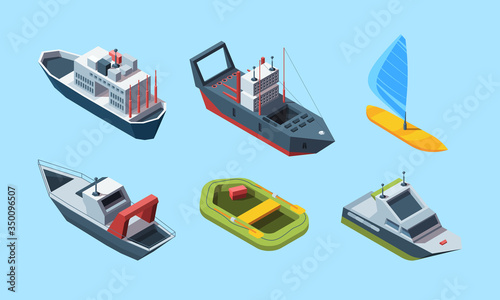 Fototapeta Sea transport set. Isometric cruise ocean liner for travel, blue-sail windsurf boat, coast guard and speed boat, green inflatable boat, research ship. Vector flat style. obraz