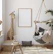 Leinwandbild Motiv Mock up frame in children room with natural wooden furniture, Farmhouse style interior background, 3D render