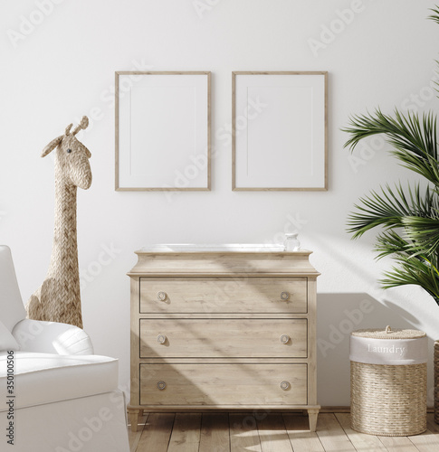 Obraz Mock up frame in children room with natural wooden furniture, Farmhouse style interior background, 3D render - fototapety do salonu