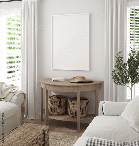 Obraz Mockup frame in scandinavian farmhouse living room interior, 3d render - fototapety do salonu