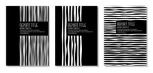 Black And White Simple Striped Report Or Publication Cover, Flat Vector Page Template