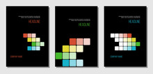 Report Cover With Black Background And Colorful Squares, Flat Vector Page Template