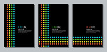 Report Cover With Black Background And Colorful Dots, Flat Vector Page Template