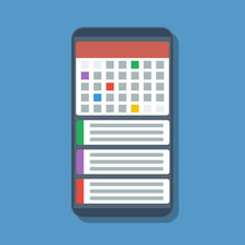 Electronic Organizer Or Planner On Mobile Phone Screen, Flat Vector