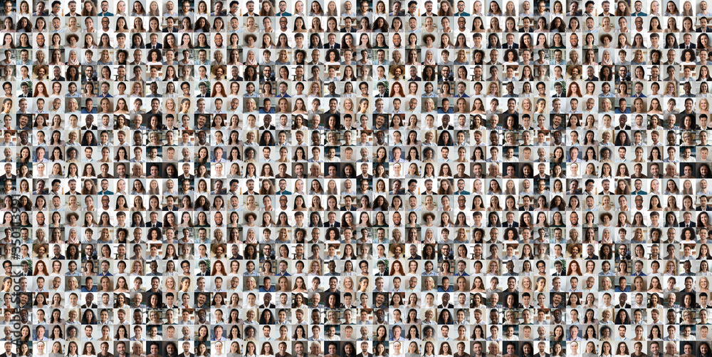 Fototapeta Hundreds of multiracial people crowd portraits headshots collection, collage mosaic. Many lot of multicultural different male and female smiling faces looking at camera. Diversity and society concept.