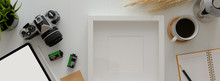 Top View Of Home Office Desk W...