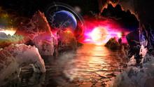 Alien Planet Landscape With Bi...
