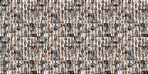 Fototapeta Hundreds of multiracial people crowd portraits headshots collection, collage mosaic