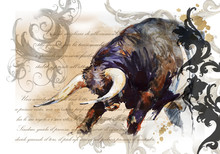 Fighting Bull Vintage Poster. Animal Illustration. Watercolor Hand Drawn Series Of Cattle Animal. Toro Bravo Breeds.