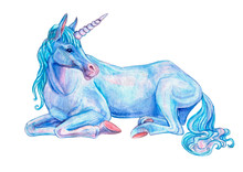 Blue Lying Unicorn With Pink Nose And Hoofs Isolated On White