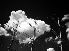 Low Angle View Of Mast Of Tall Ship Against Sky