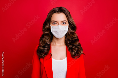 Valokuvatapetti Closeup photo of pretty charming business lady workaholic company seo work in sp