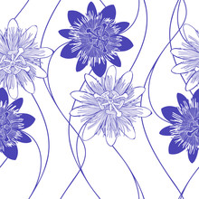 Seamless Vector Pattern With Passionflowers. Nature Background. Monochrome.