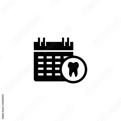 Medical appointment vector icon in black flat shape design isolated on white bac Canvas Print