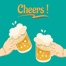 Two People Hands Holding Beer Glasses In The Pub. Friends Having Fun Clink Mugs Of Beer At The Party. Beer Background Concept For Banners, Posters. Vector Illustration In Flat Style.